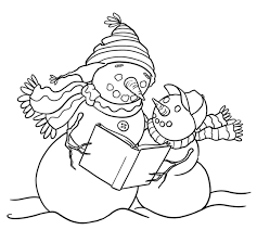 reading snowman coloring pages winter coloring pages of