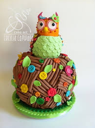 cute owl cake in its nest for a birthday fondant