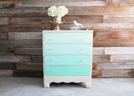 painted vintage mint green ombre dresser chest of drawers changing