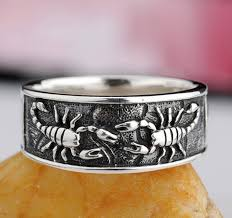 Personalized Engraved Bracelets Custom Engraved Vintage Scorpian Silver Ring For Him Personalized