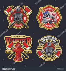 set firefighter emblems labels badges logos stock vector 284740700