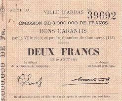 chambre de commerce arras banknote 2 f arras 29 08 1914