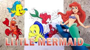 the little mermaid how to color princess ariel sebastian