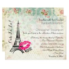 Eiffel Tower Wedding Invitations French Style Invitations U0026 Announcements Zazzle Co Uk