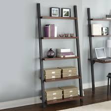 Espresso Corner Bookshelf Ideas Contemporary Wall Decorating With Leaning Shelves Design