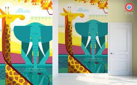 savanna jungle kids wall murals kids room wallpaper baby kids wallpaper mural giraffe and elephant
