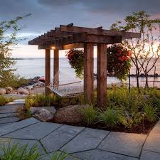Roofing For Pergola by Furniture Fabulous Beach Style Patio With A Hammock Over Wooden