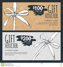 vector gift voucher template with hand drawn bow ribbon and craft