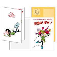 bureau bisous gaston lagaffe glct 0129 carte bonne fête avec motifs bouquet de