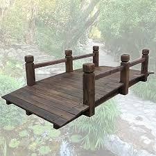 wooden garden bridge with side rails sales