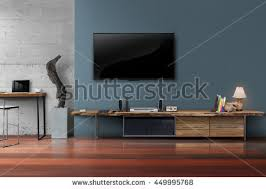 Modern Loft Furniture by Living Room Led Tv On Dark Stock Photo 449995768 Shutterstock