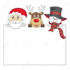 card santa claus reindeer and snowman holding