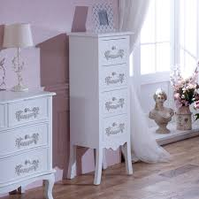 antique white tallboy chest of drawers vintage ornate shabby