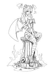 Pin Up Morrigan Lines Sketch By Noflutter On Deviantart Pin Up Coloring Pages