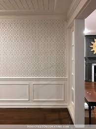 music room walls with stenciled trellis design