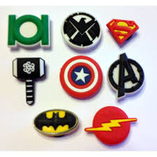 marvel cake toppers marvel comics 8pc emblem shoe charms cake toppers
