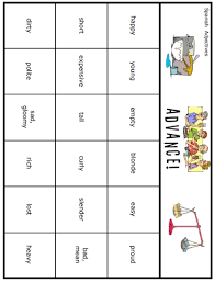 advance spanish adjectives game u2013 home education resources