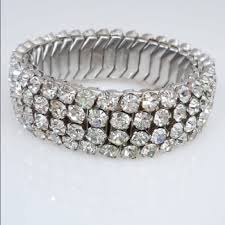 rhinestone bracelet images Vintage jewelry airflex 1950s stretch rhinestone bracelet poshmark jpg