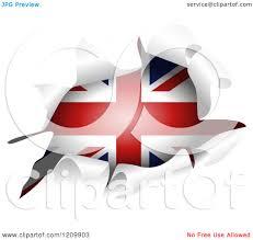 clipart of a british flag through a ripped hole royalty free