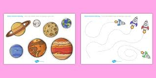 space themed pencil contol sheets worksheets worksheet work