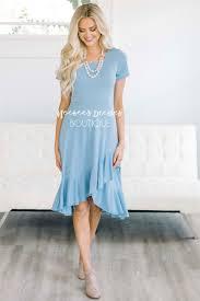 sky blue ruffle hem dress best place to buy modest dress online