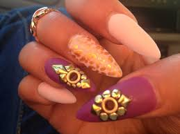 purple and gold stiletto nails with eyelets youtube