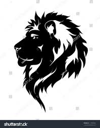 graphic lion black white drawing tattoo stock vector 117590443