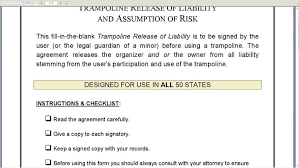 trampoline release of liability youtube waiver form for united