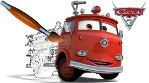 cars 3 fire truck red coloring book pages video for kids episode