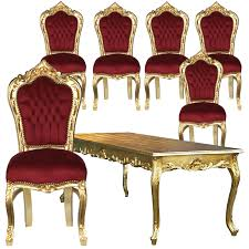 beautiful set of 6 baroque style dining room chairs red velvet