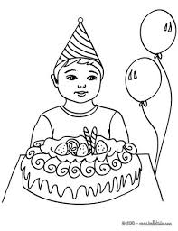 boy with a birthday cake coloring pages hellokids com