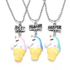 long necklace set images Cute 3 unicorn best friends forever bff necklace set for children jpg