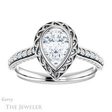 shaped engagement ring pear cut engagement ring setting gtj1105 pear w gerry the jeweler
