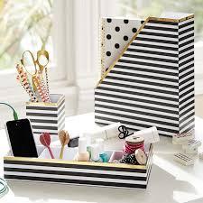 printed desk accessories black white stripe with gold trim pbteen