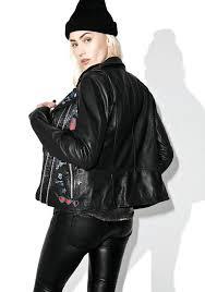 winter biker jacket goosecraft perfecto patched leather biker jacket dolls kill