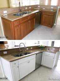how to paint stained cabinets white painting kitchen cabinets white before and after