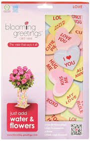 amazon com blooming greetings card vase candy hearts multicolor