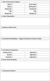 ncr report template non conformance reports quality