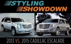 cadillac escalade vs yukon denali 2014 vs 2015 cadillac escalade styling showdown truck trend