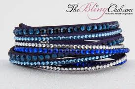 blue leather bracelet images New blue multi bling vegan leather crystal wrap bracelet jpg