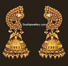 peacock design earrings in gold peacock earrings jewelry designs jewellery designs