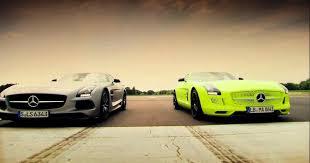 petrol vs electric mercedes sls amg battle top gear series