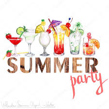 cocktail party cartoon summer party vector watercolor clipart u2014 stock vector