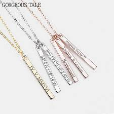 Bar Necklace Personalized Gorgeous Tale Stainless Steel Custom Long Pendant Necklace