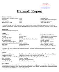 Special Skills Theatre Resume Resume U2014 Hannah Kopen
