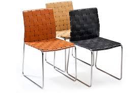 chaise tress e chaise bond acier inox et cuir tressé noir acier inox et cuir