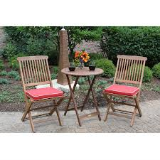 3 piece outdoor patio furniture bistro set with red seat cushions