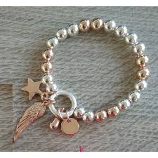 rose link bracelet images Cristallo di milano rose gold and silver plated expandable ball jpg