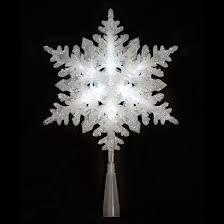 light up led silver glitter snowflake christmas tree topper