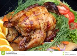 whole roasted chicken with fresh vegetables stock photo image of